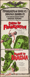 """Movie Posters:Horror, The Curse of Frankenstein/Horror of Dracula Combo (Seven Arts, R-1964). Insert (14"""" X 36""""). Horror.. ..."""
