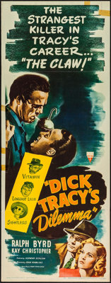 "Dick Tracy's Dilemma (RKO, 1947). Insert (14"" X 36""). Crime"