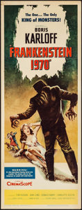"Movie Posters:Horror, Frankenstein 1970 (Allied Artists, 1958). Insert (14"" X 36"").Horror.. ..."