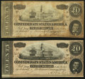 Confederate Notes:1864 Issues, T67 $20 1864 PF-23, -24 Cr. 523, 524.. ... (Total: 2 notes)