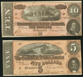 Confederate Notes:Group Lots, T68 $10 1864 PF-42 Cr. 551;. T69 $5 1864 PF-10 Cr. 564.. ...(Total: 2 notes)