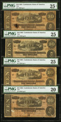 Confederate Notes:1864 Issues, T68 $10 1864 Four Examples PMG Graded.. ... (Total: 4 notes)