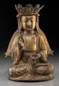 Asian:Chinese, A Chinese Gilt Bronze Seated Vairocana Buddha, Ming Dynasty. 11-1/2inches high (29.2 cm). PROVENANCE:. The Estate of Phil...