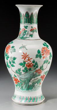 A Chinese Kangxi Revival Famille Verte Porcelain Baluster Vase, Late Qing Dynasty 17-5/8 inches high (44.8 cm)