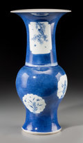 Asian:Chinese, A Chinese Blue and White Porcelain Vase, late Qing Dynasty. Marks:Double rings in underglaze blue. 17-3/4 inches high (45.1...