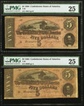 Confederate Notes:1864 Issues, T69 $5 1864 Five Examples PMG Graded.. ... (Total: 5 notes)