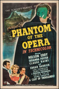 "Movie Posters:Horror, Phantom of the Opera (Universal, 1943). One Sheet (27"" X 41""). Horror.. ..."