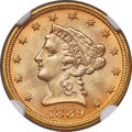 Liberty Quarter Eagles, 1889 $2 1/2 MS65 NGC....