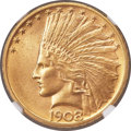 Indian Eagles, 1908-D $10 No Motto MS66 NGC....