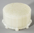 Asian:Chinese, A Chinese Carved White Jade Covered Box, Qing Dynasty, 19thcentury. 2-1/4 inches high x 4-1/8 inches diameter (5.7 x 10.5 c...