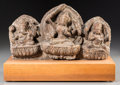 Asian:Other, An Indian Carved Stone Stele Depicting Shiva, Ganesha, and Kubera.6-3/4 h x 11-1/2 w x 3-1/8 d inches (17.1 x 29.2 x 7.9 cm...