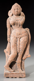 Asian:Chinese, A Sino-Indian Carved Red Sandstone Female Dancer. 11-7/8 incheshigh (30.2 cm). ...