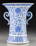 Asian:Chinese, A Chinese Blue and White Porcelain Twin-Handled Beaker Vase, QingDynasty, 18th-19th century. 12-1/4 inches high (31.1 cm). ...