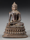 Asian:Chinese, A Tibetan Copper Alloy Shakyamuni Buddha Figure, 17th-18th century.5-5/8 inches high (14.3 cm). ...