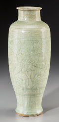 Asian:Chinese, A Chinese Longquan-Glazed Earthenware Vase, Ming Dynasty. 13-3/8inches high (34.0 cm). ...