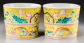 Asian:Chinese, A Pair of Chinese Yellow Ground Famille Rose Enameled Porcelain Planters, late Qing Dynasty. Marks: Four-character Dayazhai ... (Total: 2 Items)