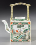 Asian:Chinese, A Chinese Famille Verte Porcelain Square Teapot, Qing Dynasty. 7inches high (17.8 cm). ...
