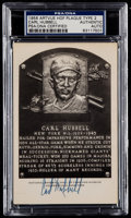 Autographs:Post Cards, 1956 Carl Hubbell Signed Artvue Hall of Fame Plaque Postcard,PSA/DNA Authentic. ...