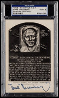 Autographs:Post Cards, 1956-63 Hank Greenberg Signed Hall of Fame Plaque Postcard, PSA/DNAMint 9. ...
