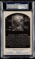 Autographs:Post Cards, 1956 Charlie Gehringer Artvue Hall of Fame Plaque Postcard, PSA/DNAAuthentic. ...