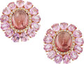 Estate Jewelry:Earrings, Pink Tourmaline, Pink Sapphire, Diamond, Rose Gold Earrings. ...(Total: 2 Items)