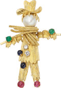 Estate Jewelry:Brooches - Pins, Diamond, Multi-Stone, Cultured Pearl, Gold Brooch. ...