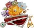 Estate Jewelry:Brooches - Pins, Multi-Stone, Diamond, Enamel, Platinum, Gold Brooch, Valentin Magro. ...