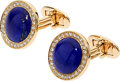 Estate Jewelry:Cufflinks, Lapis Lazuli, Diamond, Gold Cuff Links, Assil . ...