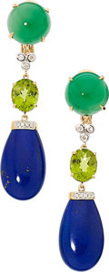 Estate Jewelry:Earrings, Multi-Stone, Diamond, Gold Earrings. ...