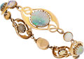Estate Jewelry:Bracelets, Art Nouveau Opal, Gold Bracelet. ...