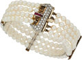 Estate Jewelry:Bracelets, Cultured Pearl, Diamond, Ruby, Platinum-Topped Gold Bracelet. ...
