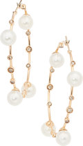 Estate Jewelry:Earrings, Colored Diamond, Cultured Pearl, Gold Earrings, Damiani. ...