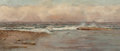 Fine Art - Painting, American, Laura Woodward (American, 1834-1923). The Shore at Dusk. Oilon canvas. 10-1/4 x 24-1/4 inches (26.0 x 61.6 cm). Signed ...