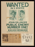 General Americana: , A John Dillinger Wanted Fugitive Poster and Ephemera. 33 incheshigh x 25 inches wide (83.8 x 63.5 cm) (framed). Property ...
