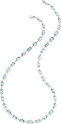 Estate Jewelry:Necklaces, Blue Topaz, White Gold Necklace . ...