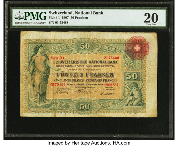 World Currency Switzerland Schweizerische Nationalbank 50 Franken 1 2 1907 Pick1