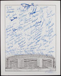 Autographs:Photos, New York Mets Greats Signed Lithograph....