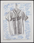 Autographs:Others, Brooklyn Dodgers Multi-Signed Lithograph....