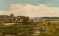 Fine Art - Painting, European:Antique  (Pre 1900), César Pattein (French, 1840-1920). An extensive landscape withfigures fishing in the foreground, 1894. Oil on canvas. 2...