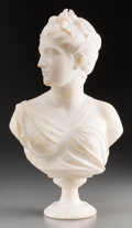 Decorative Arts, Continental:Other , A Continental Carrara Marble Bust of Diana. 19-5/8 inches high(49.8 cm). ...