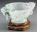 Asian:Chinese, A Chinese Reticulated Jadeite Handled Bowl with Stand. 3-7/8 h x9-1/4 w x 7 d inches (9.8 x 23.5 x 17.8 cm) (without stand)...(Total: 2 Items)