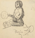 Fine Art - Work on Paper:Drawing, Maynard Dixon (American, 1875-1946). Squaw with Baby, 1900.Pencil on paper. 5 x 4-3/4 inches (12.7 x 12.1 cm) (sight). ...