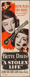 """Movie Posters:Drama, A Stolen Life (Warner Brothers, 1946). Insert (14"""" X 36""""). Drama.. ..."""