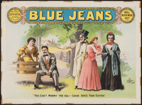 """Blue Jeans (Enquirer Job Printing Co., c. 1899-1910s). Theatrical Poster (21.5"""" X 29""""). Drama"""