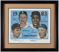 "Autographs:Others, Baseball Hall of Fame ""1983 Cooperstown"" Signed Lithograph -Robinson, Marichal, Kell & Alston...."
