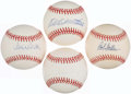 Autographs:Baseballs, Baseball Hall of Famers Single Signed Baseball Quartet (4) -Mathews, Mays, Carlton, & Feller. ...