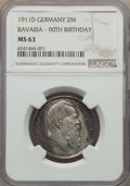 German States:Bavaria, German States: Bavaria. Luitpold 2 Mark 1911-D MS63 NGC,...