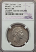 German States:Bavaria, German States: Bavaria. Ludwig II Madonna Taler 1870 AU Details(Excessive Surface Hairlines) NGC,...