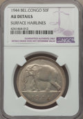 Belgian Congo, Belgian Congo: Belgian Colony 50 Francs 1944 AU Details (SurfaceHairlines) NGC,...