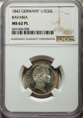 German States:Bavaria, German States: Bavaria. Ludwig I 1/2 Gulden 1842 MS62 PL NGC,...